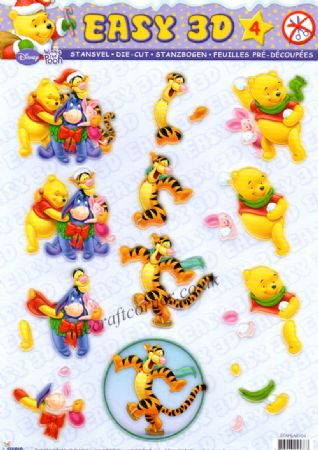 Winnie The Pooh & Friends At Christmas 4 Die Cut 3d Decoupage Sheet